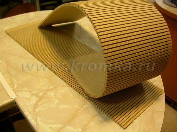 Внешний вид листов гибкого МДФ - основы будущих гнутых мебельных фасадов