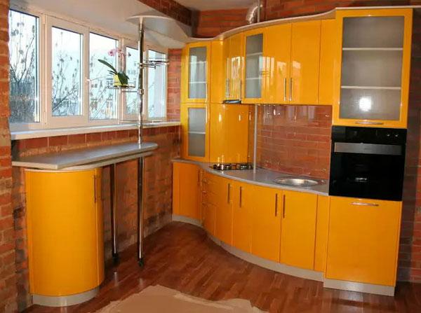 Гнутые кухонные фасады из гибкого МДФ